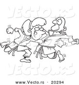 Vector of a Cartoon Karate Woman Punching Her Fist Through a Man's Chest - Coloring Page Outline by Toonaday
