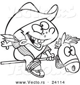 Vector of a Cartoon Kid Cowboy Riding a Stick Pony - Coloring Page Outline by Toonaday
