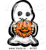 Vector of a Cartoon Kid Ghost Holding a Pumpkin by Chromaco