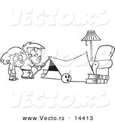 Vector of a Cartoon Kids Setting up a Camping Tent in a Living Room - Coloring Page Outline by Toonaday