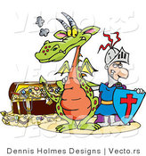 Vector of a Cartoon Knight and Dragon Beside a Treasure Chest by Dennis Holmes Designs