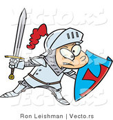 Vector of a Cartoon Knight Boy Pretending with Sword and Shield by Toonaday