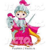 Vector of a Cartoon Knight Boy with Sword on a Horse by Pushkin