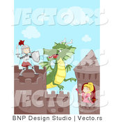 Vector of a Cartoon Knight Fighting Dragon While Princess Watches from Her Tower by BNP Design Studio