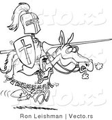 Vector of a Cartoon Knight Jousting on a Horse - Coloring Page by Toonaday