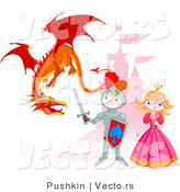 Vector of a Cartoon Knight Protecting Princess from a Dragon with Castle Background by Pushkin