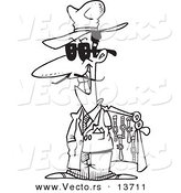 Vector of a Cartoon Knock off Salesman Selling Watches - Coloring Page Outline by Ron Leishman
