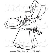 Vector of a Cartoon Lady Pilgrim Serving a Turkey - Outlined Coloring Page by Toonaday
