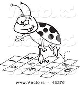 Vector of a Cartoon Ladybug Jumping over Hopscotch Numbers - Coloring Page Outline by Ron Leishman