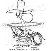 Vector of a Cartoon Lasso Cowboy - Coloring Page Outline by Toonaday