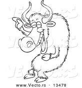 Vector of a Cartoon Laughing Yak - Coloring Page Outline by Toonaday