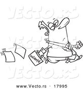 Vector of a Cartoon Lax Businessman Dropping Confidential Paperwork - Outlined Coloring Page by Ron Leishman