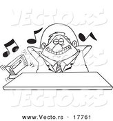 Vector of a Cartoon Lazy Boss Listening to Loud Music - Outlined Coloring Page by Toonaday