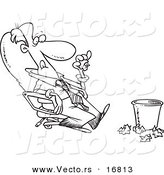 Vector of a Cartoon Lazy Businessman Sitting in a Chair and Tossing Papers in a Waste Basket - Coloring Page Outline by Toonaday