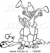 Vector of a Cartoon Lazy Hare Riding on a Tortoise - Outlined Coloring Page Drawing by Ron Leishman
