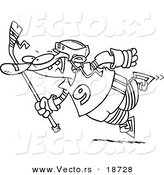 Vector of a Cartoon Leaping Hockey Player - Outlined Coloring Page by Toonaday