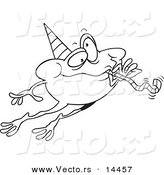 Vector of a Cartoon Leaping Party Frog - Coloring Page Outline by Toonaday