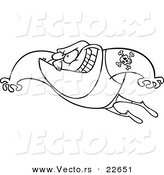 Vector of a Cartoon Leaping Wrestler - Coloring Page Outline by Ron Leishman