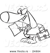 Vector of a Cartoon Legal Beagle Attorney Lawyer Dog Holding a Document - Outlined Coloring Page by Ron Leishman