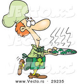Vector of a Cartoon Leprechaun Chef Serving Hot Lucky Shamrock Cookies by Toonaday
