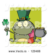 Vector of a Cartoon Leprechaun Frog over Green Square by Hit Toon