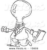 Vector of a Cartoon Light Bulb Headed Businessman - Coloring Page Outline by Toonaday