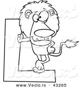 Vector of a Cartoon Lion Leaning Against a Letter L - Coloring Page Outline by Ron Leishman