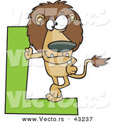Vector of a Cartoon Lion Leaning Against Alphabet Letter L by Ron Leishman