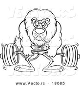 Vector of a Cartoon Lion Weightlifting - Outlined Coloring Page by Ron Leishman