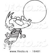Vector of a Cartoon Little Boy Floating Away with a Big Bubble of Gum - Outlined Coloring Page Drawing by Toonaday