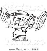 Vector of a Cartoon Little Boy Lifting a Barbell - Outlined Coloring Page by Toonaday