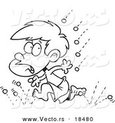 Vector of a Cartoon Little Boy Running from Hail - Outlined Coloring Page by Toonaday