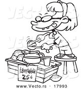 Vector of a Cartoon Little Girl Making Lemonade - Outlined Coloring Page by Toonaday
