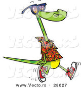 Vector of a Cartoon Lizard Wearing Summer Clothes, Shoes, and Sunglasses While Walking by Toonaday