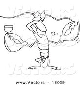 Vector of a Cartoon Lobster Drinking Wine - Outlined Coloring Page by Toonaday