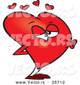 Vector of a Cartoon Love Heart Puckered for a Kiss by Toonaday