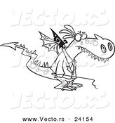 Vector of a Cartoon Mad Dragon Boss Holding a Whip - Coloring Page Outline by Toonaday