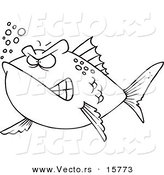 Vector of a Cartoon Mad Fish - Outlined Coloring Page Drawing by Toonaday
