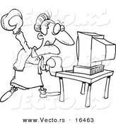 Vector of a Cartoon Mad Granny Beating a Computer with Boxing Gloves - Outlined Coloring Page Drawing by Toonaday