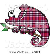 Vector of a Cartoon Magenta Plaid Chameleon Lizard Smiling on a Branch by Ron Leishman