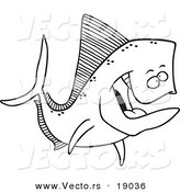 Vector of a Cartoon Mahi Mahi Fish - Outlined Coloring Page by Toonaday