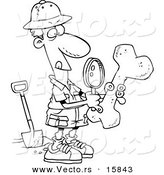 Vector of a Cartoon Male Archaeologist Inspecting a Bone - Outlined Coloring Page Drawing by Toonaday