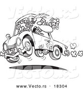 Vector of a Cartoon Male Driver with Road Rage - Outlined Coloring Page by Toonaday