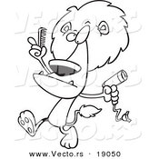 Vector of a Cartoon Male Lion Using a Comb and Blow Dryer on His Mane - Outlined Coloring Page by Toonaday