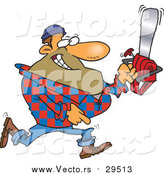 Vector of a Cartoon Male Lumberjack Carrying a Saw by Ron Leishman