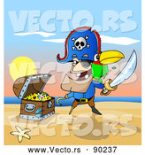 Vector of a Cartoon Male Pirate Standing Beside Treasure Chest on a Beach Scene by Holger Bogen