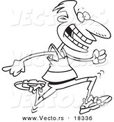 Vector of a Cartoon Male Runner - Outlined Coloring Page by Toonaday