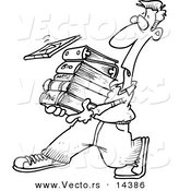 Vector of a Cartoon Male Student Carrying Text Books - Coloring Page Outline by Toonaday