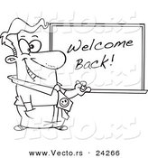 Vector of a Cartoon Male Teacher Writing Welcome Back on a Board - Outlined Coloring Page by Toonaday