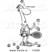 Vector of a Cartoon Male Tennis Player Being Hit in the Face with Ball After Ball - Coloring Page Outline by Toonaday